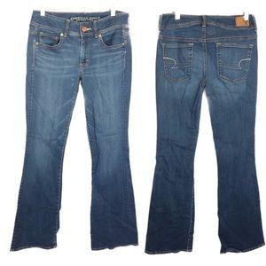 AEO sz 4 super kick blue stretch jeans stonewashed